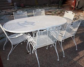 Vintage Woodard Patio Set, Salterini Collection, Wrought Iron Patio Set, Oval  Table U0026