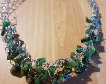 Crochet Wire Jade Necklace