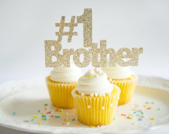 Happy Birthday Cake Topper, #1 Brother, Gold Glitter Party Decoration, New Job Promotion, Graduation, I'm going to be a big brother,