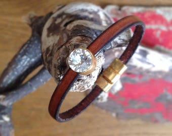 Brown leather and Swarovski bracelet