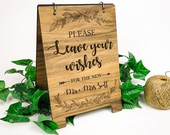 A4 Wooden Sign - Leave your wishes (guestbook)