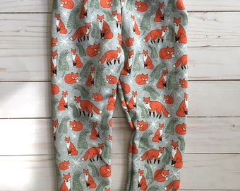 Autumn Foxes French Terry Joggers, Baby Toddler Leggings