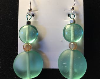 Light Turquoise and Brown Drop Earrings