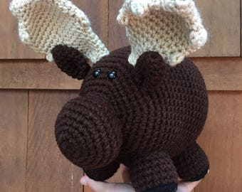 Handmade crochet moose- stuffed animal moose- knit plush moose- handmade chubby moose- stuffed toy moose