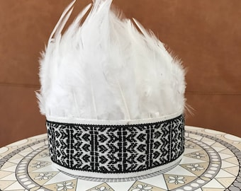 Feather headband crown boho gypsy indian headress tribal baby white