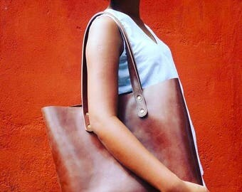 SUMMER SALE PATRA - unlined tote bag, brown thick leather shopper bag bag, leather tote, laptop bag, brown leather bag, bag brown, leather t