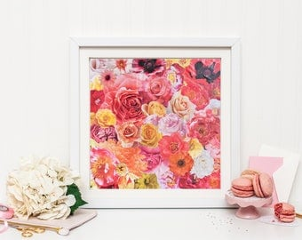 Blossom 10x10 Art Print Floral Collage Pink Rose Valentines Day Romantic Flowers