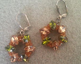 round earrings with swarovski crystal navettes
