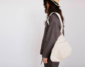 Linen beach bag, double sided bag, linen backpack, linen shoulder bag, linen crossbody bag, gift for her, eyes print, beige bag, eco bag
