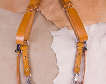 Multicamera strap, Single strap or set, double camera harness, Color natural brown, Photographer leather strap , Dual, Safety loop, d-ring