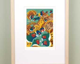 Bouquet of Pheasants Limited Edition, Signed Giclée Print