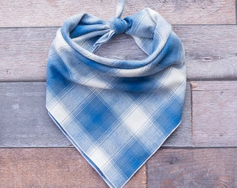 Blue Plaid Dog Bandana, Plaid Dog Bandana, Blue Plaid Flannel Dog Bandana, Tie On Bandana