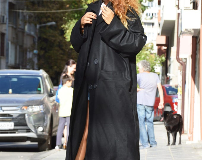 Winter Black Cashmere Coat, Fashion Sleeves Coat with buttons, Casha Plus Size Extravagant Coat By SSDfashion