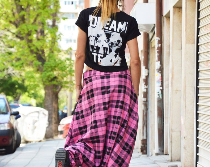 Pink Plaid Harem Pants, Drop Crotch Loose Pants, Extravagant Casual Trousers, Handmade Clothing by SSDfashion