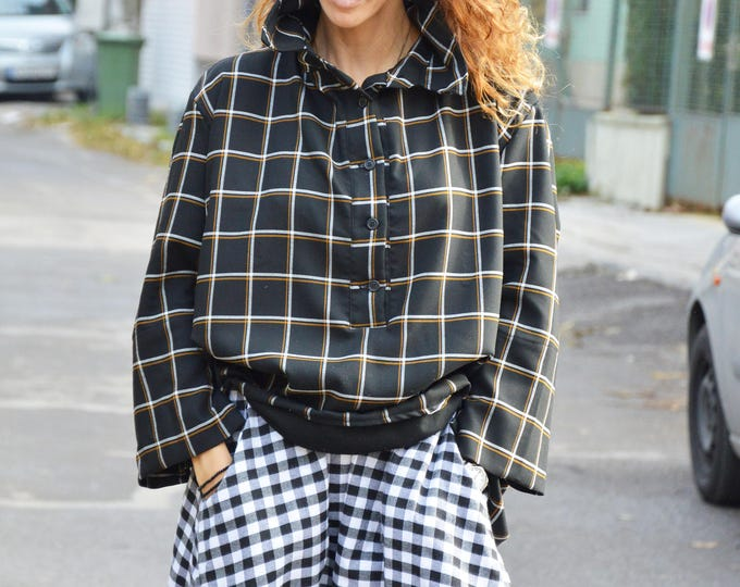 Sexy Soft Wool Asymmetric Shirt, Long Sleeve Loose Shirt, Oversize Winter Black Plaid Shirt by SSDfashion
