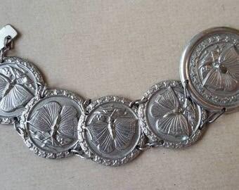Vintage Art Nouveau Silver Tone Butterfly Link Panel Bracelet