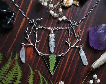 Fern pressed necklace horns necklace moonstone raw cristal shaman necklace witch jewelry witches stone real flower necklace twigs necklace