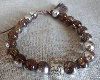 Mens bracelet, Brown and silver, glass Crackle beads