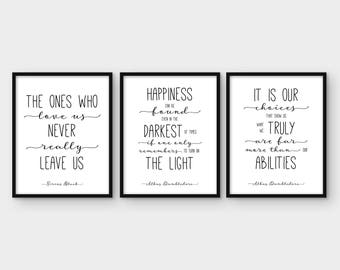 Harry Potter Print Set of 3. Albus Dumbledore Quote. Happiness Can Be. The Ones Who Love. It is our choices Wall Art Decor. Printable Poster