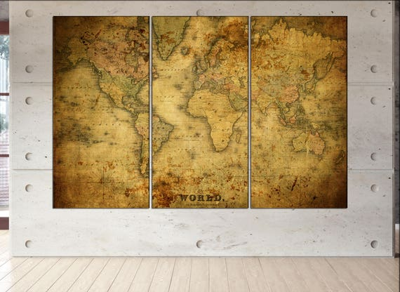 old world map canvas wall art  print  on canvas wall art Old World Map Historic Map Antique Style World Map art work artwork office decor