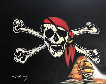 Painting of Black Pirate Flag With Jolly Rogers and Pirate Ship and Skull and Cross Bones. 24x20 Original Oil Painting, Painted by Hand