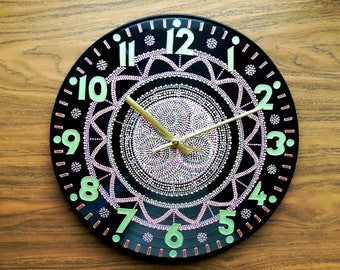 WALL CLOCK Seamless Mehndi design Home Sweet Home abstract art Sacred geometry birthday gift Eco friendly repurposed morrocan house painting
