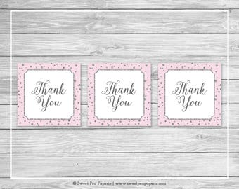 Pink and Silver Baby Shower Favor Thank You Tags - Printable Baby Shower Thank You Tags - Pink and Silver Baby Shower - Favor Tags - SP150