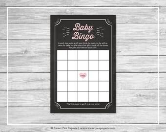Chalkboard Baby Shower Baby Bingo Game - Printable Baby Shower Baby Bingo Game - Pink Chalkboard Baby Shower - Baby Bingo Game - SP155