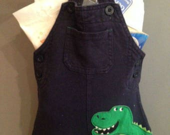 Baby Shower Gift Wrap, Blue Jumper with Green Dino