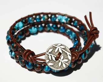 Leather bracelet Birthday gift for women bracelet Leather Wrap Bracelet Beaded Bracelet Turquoise Beads Bracelet Leather Cord Bracelet