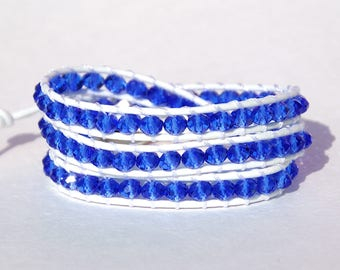 Beaded Wrap Bracelet Statement bracelet Blue Crystal Bracelet Crystal jewelry for her womens gift anniversary gift for her Layered bracelet