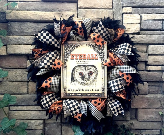 Halloween Wreath, Burlap Wreath, Primitive Halloween Wreath, Owl Wreath, Halloween Decor, Farmhouse Decor, Halloween Decoration, Wreaths