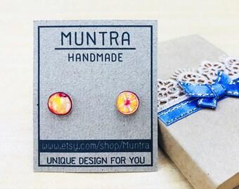 ORANGE STUD EARRINGS - Orange Earrings,Orange Studs,Orange Fruit Earrings,Orange Resin Earrings,Resin Jewelry,Orange Jewelry Fruit Jewelry