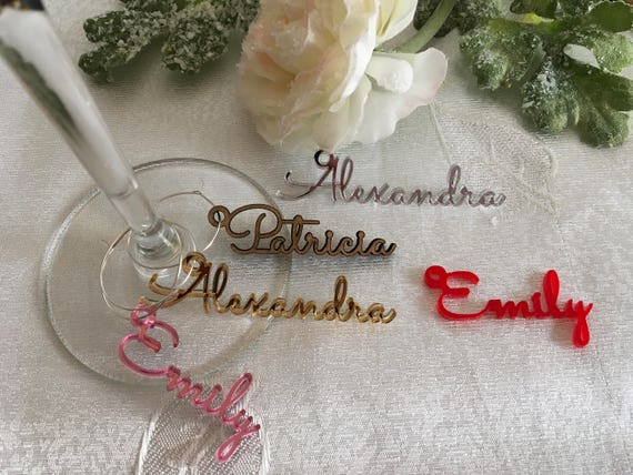 Wine Glass Charms Personalized Name Gift Tags for Wine Bridal Shower Party Decor Drink Marker Wedding Tag Acrylic Laser Cut Place Name Cards
