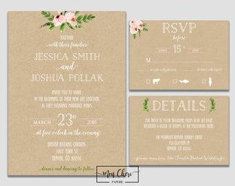 Kraft Modern Floral Wedding Suite Rustic Floral Wedding Invitation Kraft Paper Invitation Spring Wedding Floral Wedding Invitation Greenery