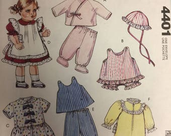 """Baby Doll Sewing Pattern Wardrobe 14"""", 16"""" and 18"""" Dolls McCall's Crafts #4401"""
