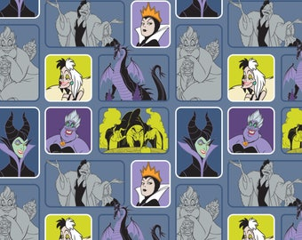 Disney Villains Wicked Women Light Blue Camelot Premium 100% cotton fabric  (CA220)