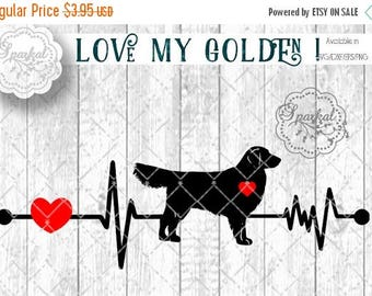 ON SALE Love My GOLDEN Retriever Dog Svg Cut File Heartbeat Stencil, Heart Monitor Car Stencil Digital Cutting file, Available Svg Dxf Eps P