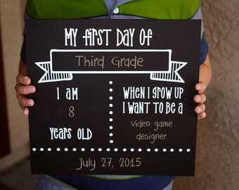 DIY KIT-  First Day of School Picture - Chalkboard Sign - Craft Kit - Create your own - Reusable Sign - Back to School - Do it Yourself Kit