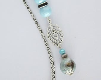Silver leaf metal composed of blue beads and charm bookmark
