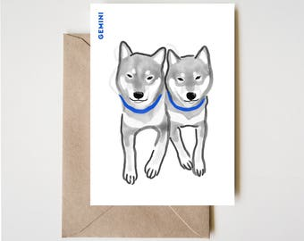 Gemini Shiba Card, Horoscope Dog Sumi-e Ink Painting Zen B&W Illustration February Birthday Cute Zodiac Drawing