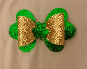 St Patrick faux leather bow