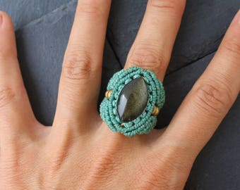 Macrame ring whit Golden obsidian from Mexico - Macrame jewelry & brass beads and semiprecious stones