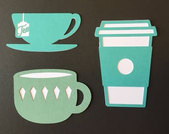 Lot of THREE Layered Die Cuts, Coffee and Tea