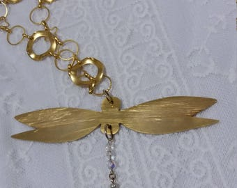 Gold long necklace, Gold statement necklace, Statement necklace,