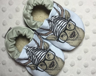Final Sale!! **Size 9-12 months** Soft Sole Baby Shoes Booties Oh Deer Oh Deer Cotton Fabric Faux Fur Faux Suede Handmade