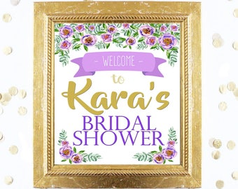 Bridal or Baby Shower Welcome Sign Customized - Purple and Gold Floral Peony - Instant Printable Digital Download - diy Printables and Games