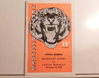 rare paul brown 1946 massillon tigers vs. canton ohio mckinley football program souvenir vintage