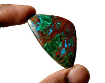 Chrysocolla 54 Cts AAA Quality Natural Gemstone Attractive Designer Triangle Shape Cabochon 45x26x5.4 MM R14121