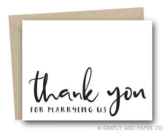 Wedding Day Note Card - Thank You For Marrying Us